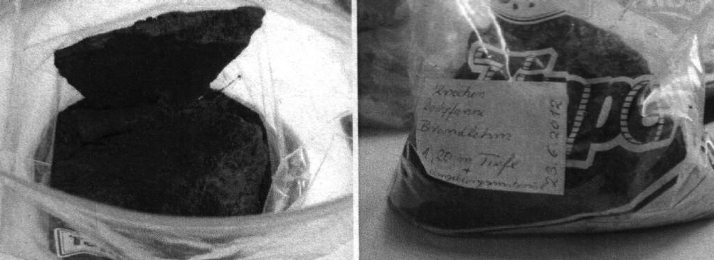 Ziptüte mit Dachpfanne, Knochen und Brandlehm, sowie dem Sediment, in dem die Proben gefunden wurden.