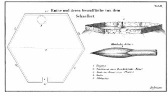Plan der Ruine aus dem frühen 13. Jahrh.