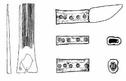 """Messer mit Griff aus Bein (rechts) mit Kreisaugenverzierung. Die Funktion der sog. """"Langzinkenkämme"""" (links) ist nach wie vor umstritten."""