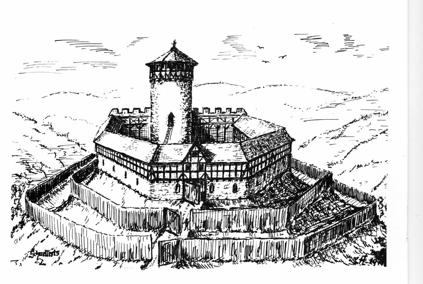 Burg Schnellerts, Rekonstruktionsversuch von Fred Lehmann, Darmstadt, 1977