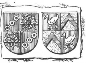 Die Ehewappen des Johann von Erlebach und seiner Gemahlin Margarete.