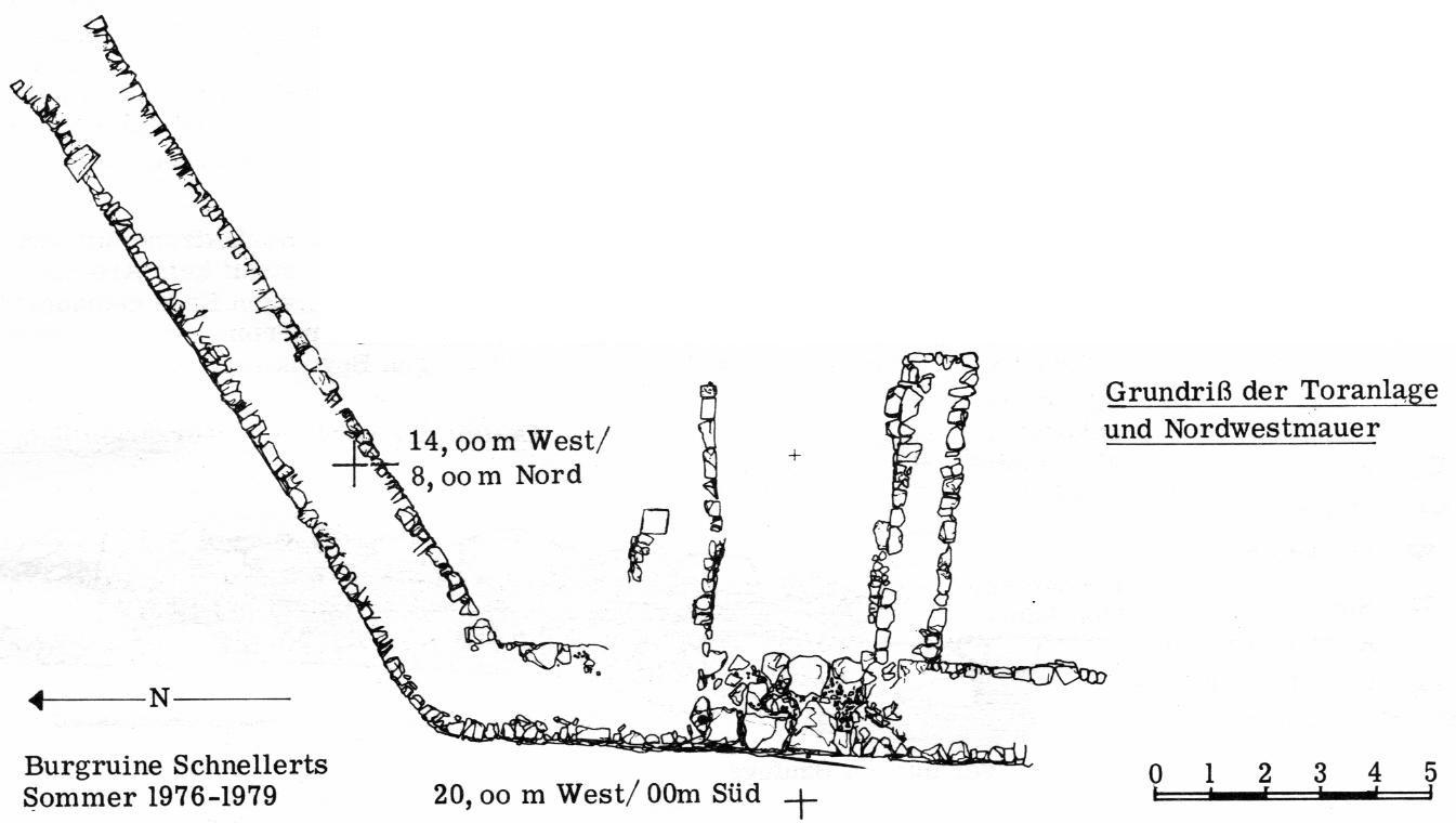 Grundriß der Toranlage und Nordwestmauer