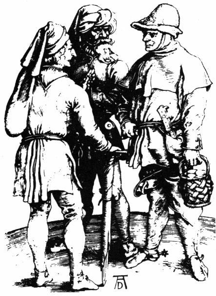 Drei Bauern Kupferstick