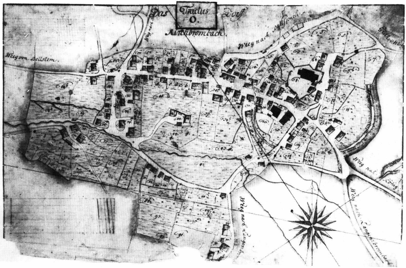 Ortsplan von Kirch-Brombach aus dem Jahre 1757