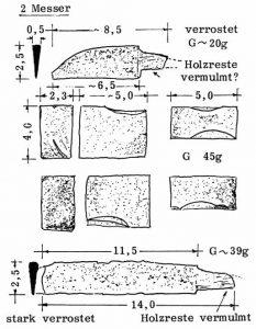 Messer verrostet mit Holzresten