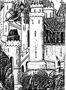 Angriff auf eine mittelalterliche Burg.