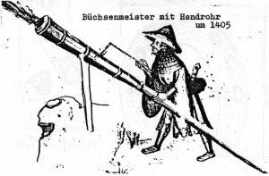 Büchsenmeister mit Handrohr um 1405
