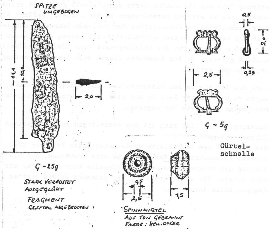 Eisenmesser stark verrostet, Grürtelschnalle und Spindel aus Ton
