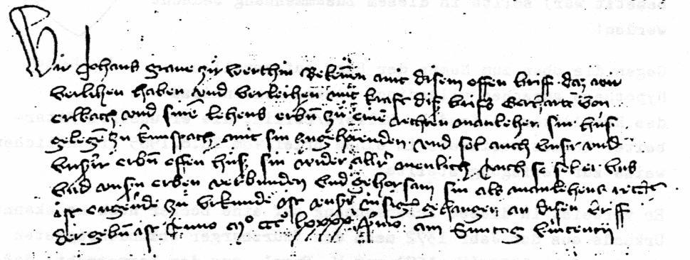 Lehensbrief von Graf Johann zu Wertheim
