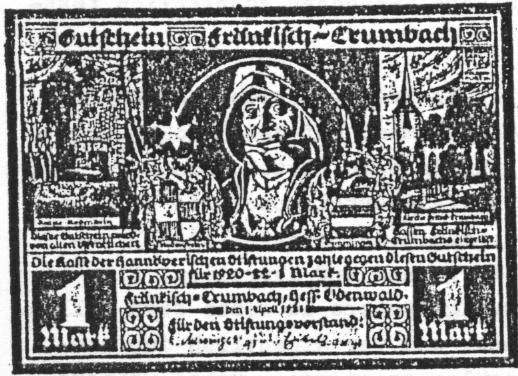 Notgeld Fränkisch Crumbach 1 Mark