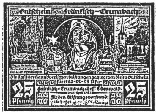 Notgeld Fränkisch Crumbach 25 Pfennig