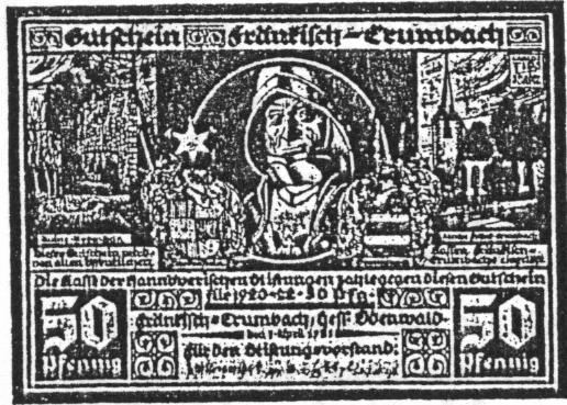 Notgeld Fränkisch Crumbach 50 Pfennig