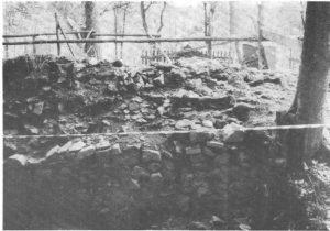 Teilansicht der 1979 von Mauerversturz und Bewuchs gesäuberten Ringmauer (äußere Schalmauer im N/W-Bereich)